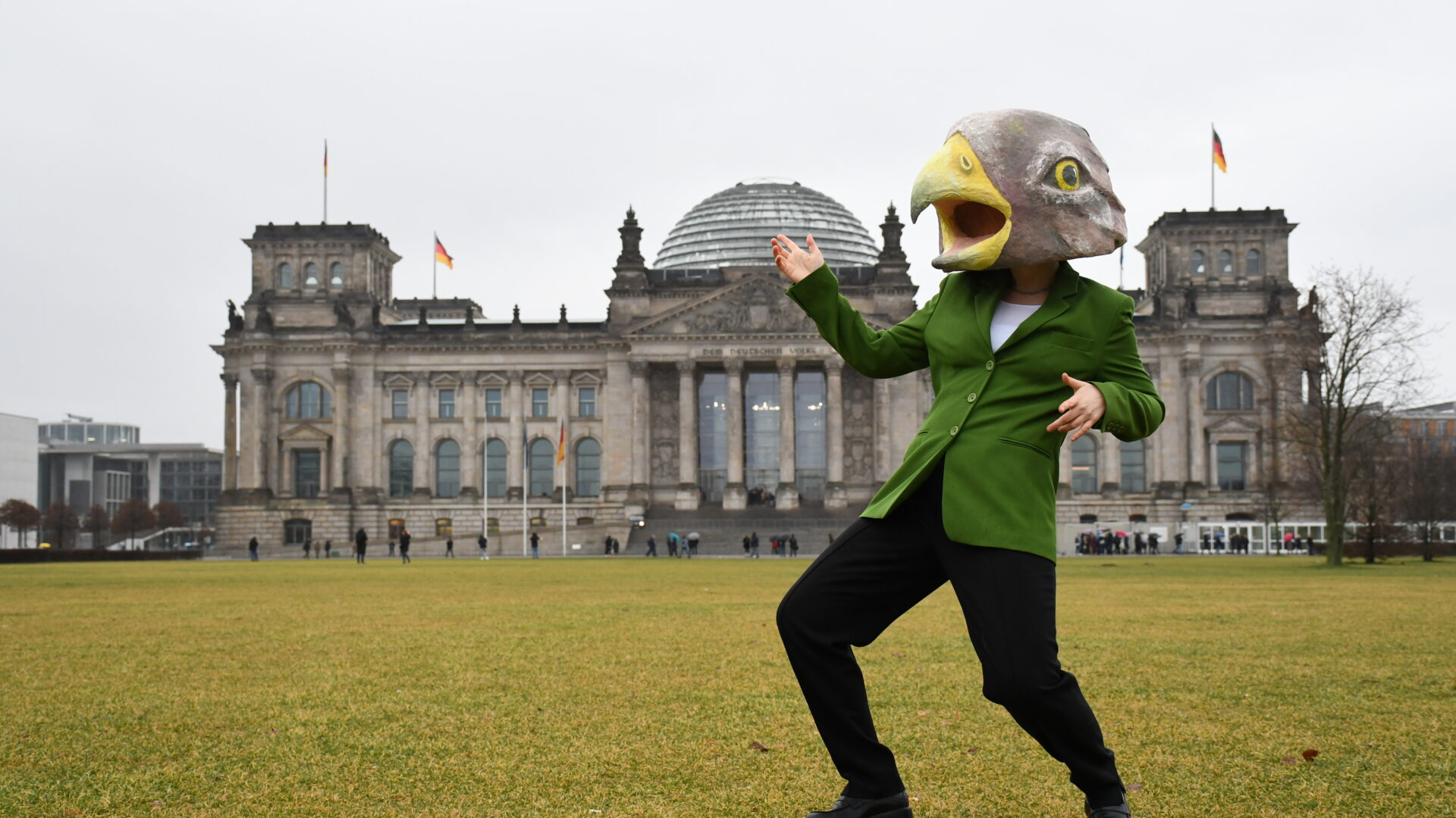 Person with eagle mask in front of the parliament